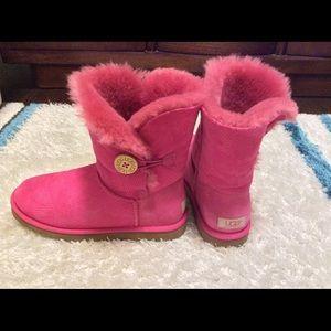 UGG Pink Sheepskin & Leather Boots